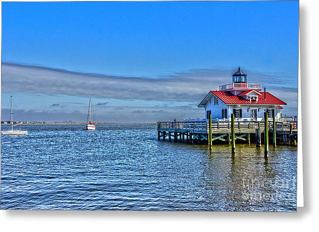 Marshes Lighthouse Greeting Card by Tom Gari Gallery-Three-Photography