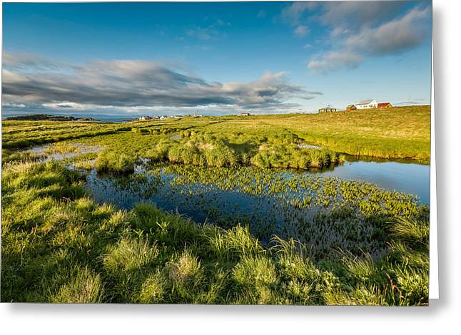 Marshlands And Summer Houses, Flatey Greeting Card by Panoramic Images