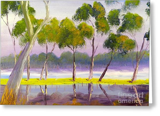 Greeting Card featuring the painting Marshlands Murray River Red River Gums by Pamela  Meredith