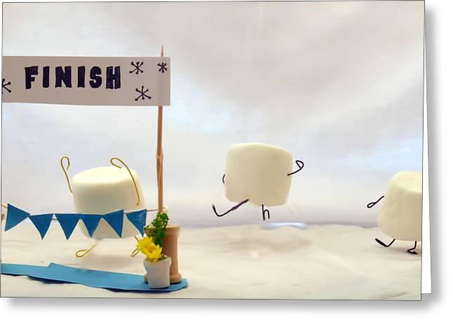 Marshmallow Marathon Greeting Card by Heather Applegate