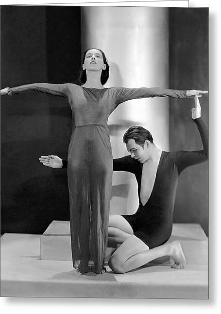 Martha Graham Posing With Charles Weidman Greeting Card by Nicholas Muray