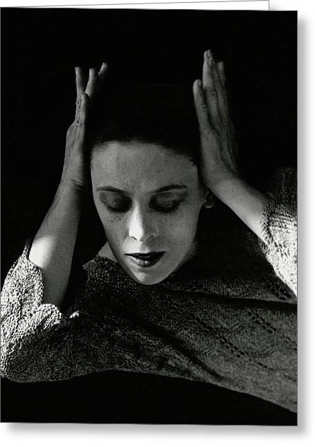 Martha Graham Wearing A Crocheted Dress Greeting Card by Imogen Cunningham