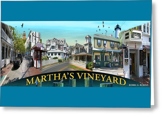 Martha's Vineyard Collage Greeting Card by Gerry Robins