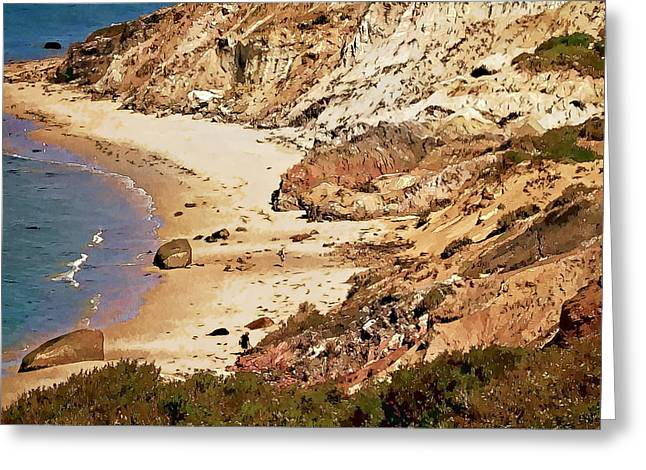 Greeting Card featuring the photograph Marthas Vineyard Gay Head Cliffs  Photo Art by Constantine Gregory