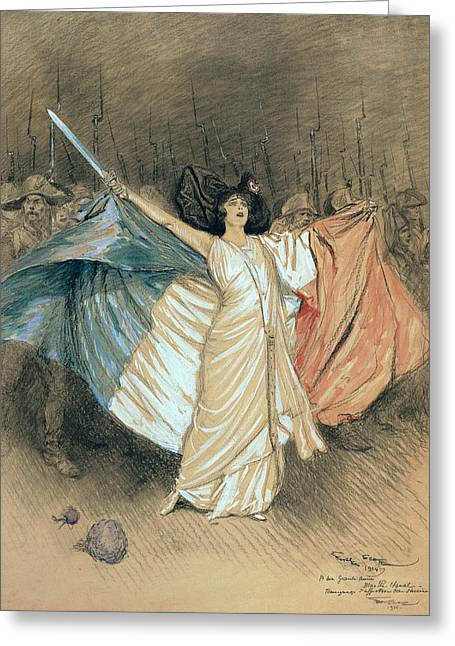 Marthe Chenal Singing La Marseillaise Greeting Card by Georges Bertin Scott