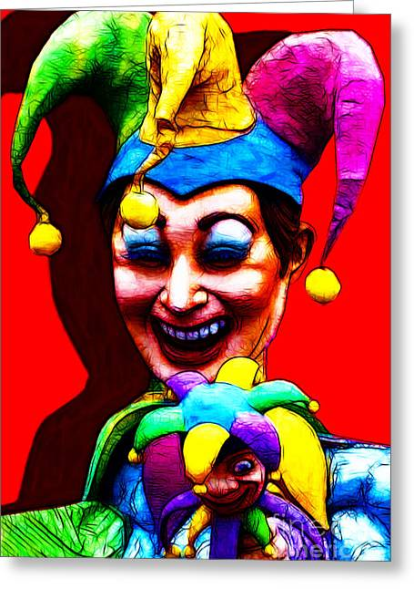 Marti Gras Carnival Clown 20130129v1 Greeting Card by Wingsdomain Art and Photography