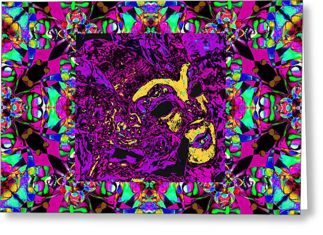 Marti Gras Carnival Mask In Jester Window 20130129v3 Greeting Card by Wingsdomain Art and Photography