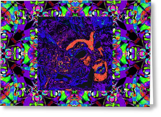 Marti Gras Carnival Mask In Jester Window 20130129v4 Greeting Card by Wingsdomain Art and Photography