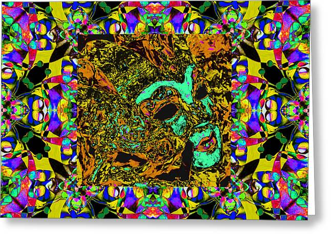 Marti Gras Carnival Mask In Jester Window 20130129v8 Greeting Card by Wingsdomain Art and Photography