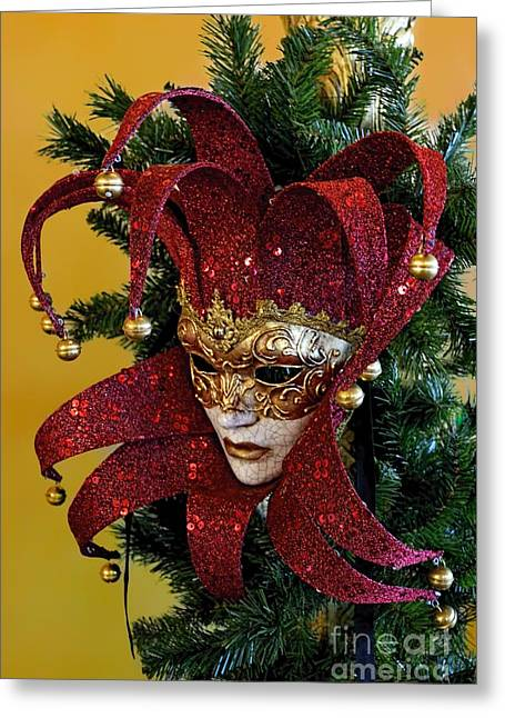 Mardi Gras Christmas In Red Greeting Card by Norman Gabitzsch
