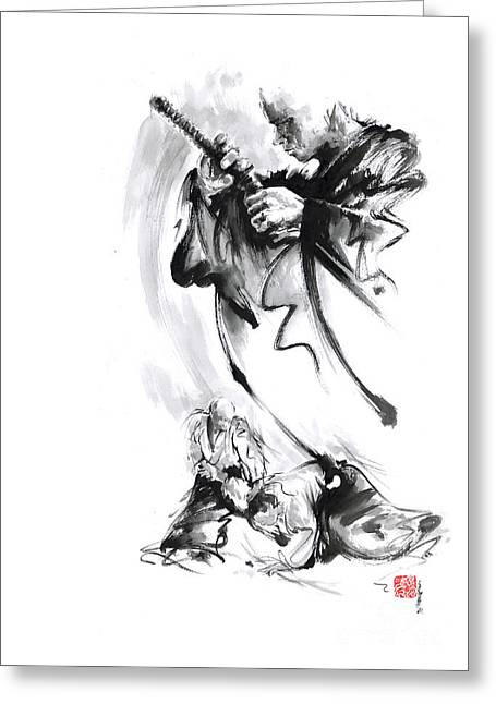 Martial Arts Japan Warrior Aikido Poster. Greeting Card by Mariusz Szmerdt