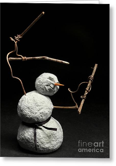 Martial Arts Warrior Snowman Christmas Card Greeting Card by Adam Long