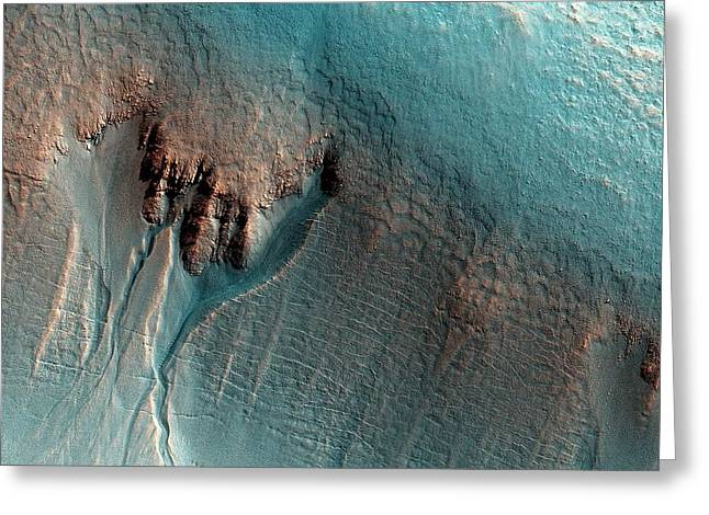 Martian Gullies Greeting Card by Nasa/jpl-caltech/univ. Of Arizona