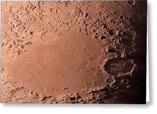 Martian Impact Basin Greeting Card by Detlev Van Ravenswaay