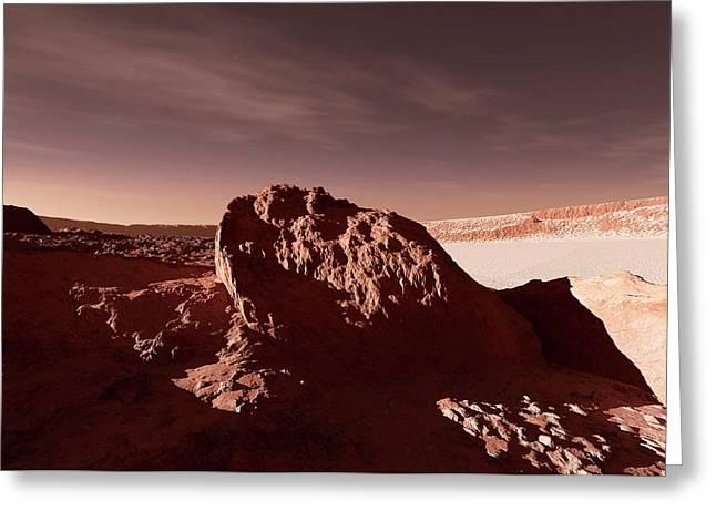 Martian Impact Crater Greeting Card by Detlev Van Ravenswaay