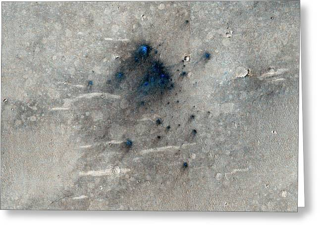 Martian Impact Craters Greeting Card by Nasa