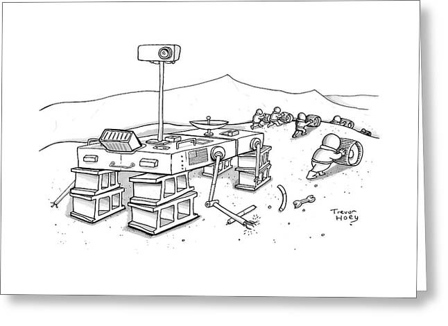 Martians Are Stealing The Tires On A Martian Greeting Card