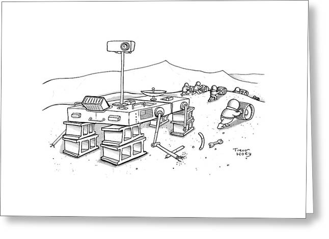 Martians Are Stealing The Tires On A Martian Greeting Card by Trevor Hoey