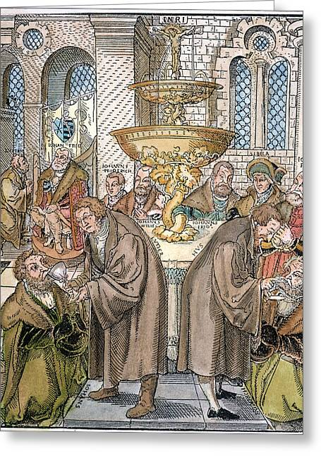 Martin Luther & Jan Hus Giving Greeting Card