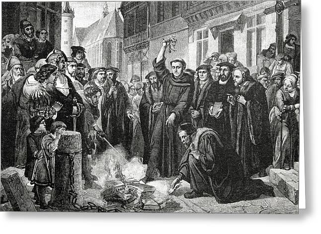Martin Luther 1483 1546 Publicly Burning The Pope's Bull In 1521  Greeting Card by English School