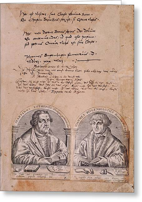 Martin Luther And J. Bugenhagius Greeting Card by British Library