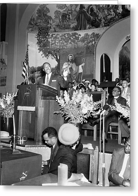 Martin Luther King Jnr 1929 1968 American Black Civil Rights Campaigner In The Pulpit Greeting Card