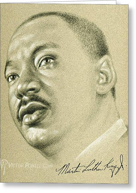 Martin Luther King Pencil Portrait Greeting Card by Victor Powell