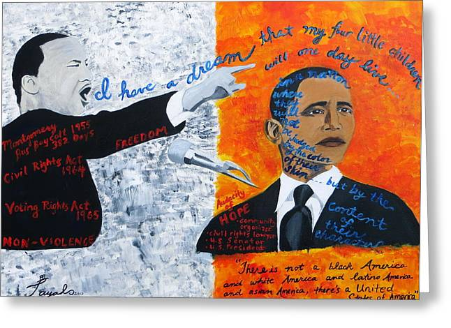 Martin Luther King's Dream Is Coming True Greeting Card by Artistic Indian Nurse