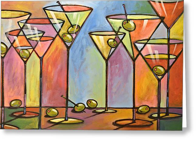 Martini Bar ... Abstract Alcohol Art Greeting Card by Amy Giacomelli