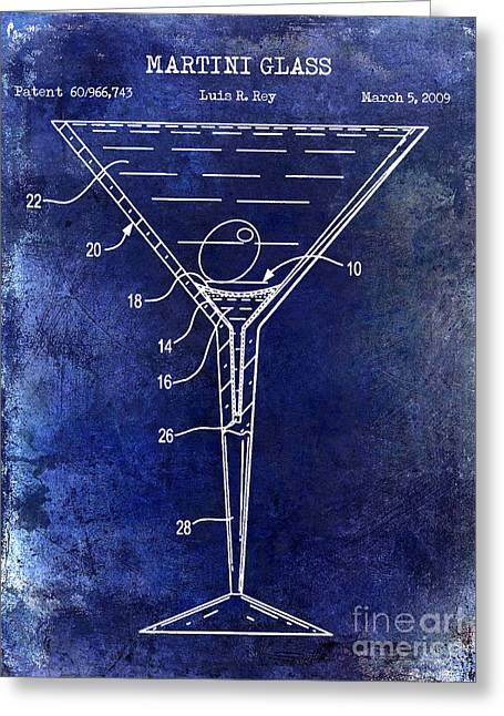 Martini Glass Patent Drawing Blue Greeting Card by Jon Neidert