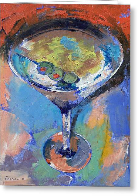 Martini Oil Painting Greeting Card by Michael Creese