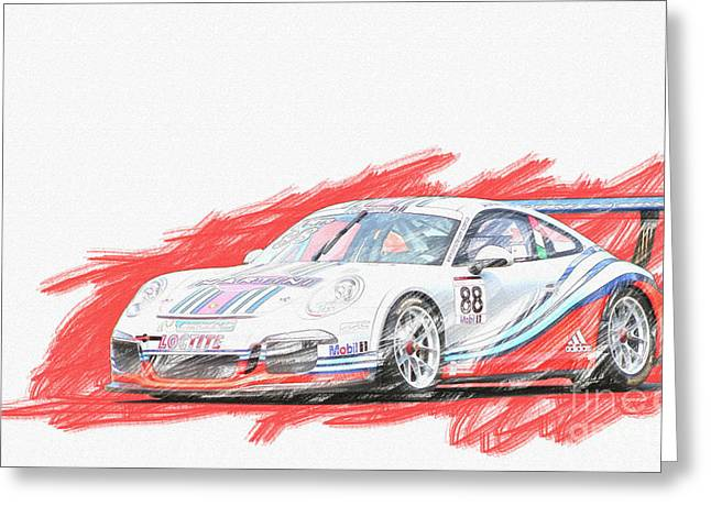 Martini Porsche 911 Gt3 Greeting Card by Roger Lighterness