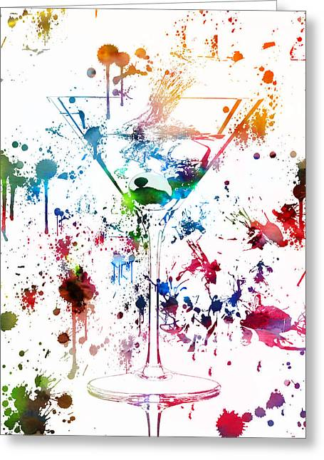 Martini Watercolor  Greeting Card by Dan Sproul