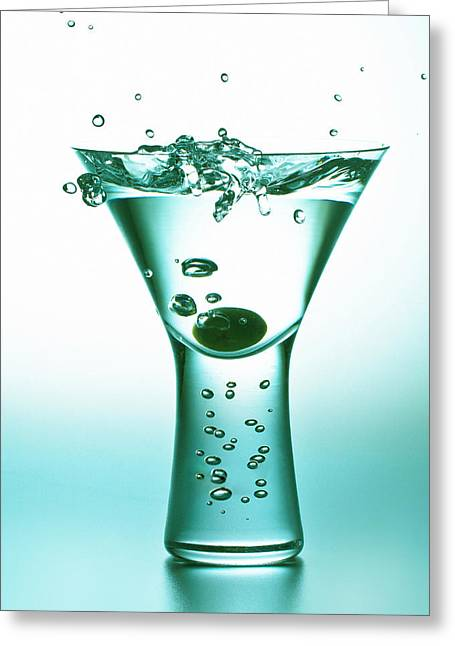 Martini With Olive Splash Greeting Card