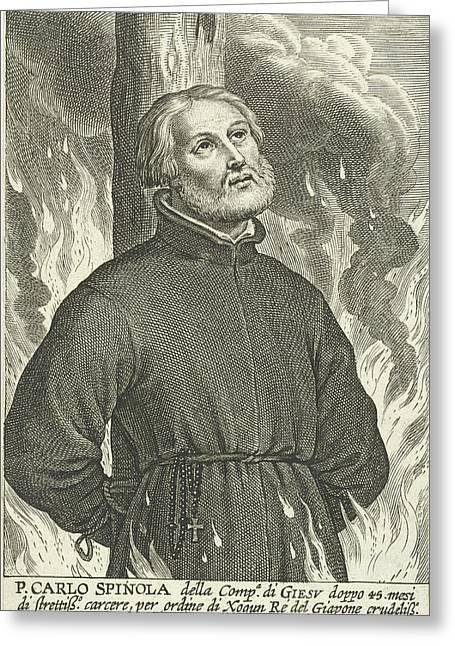 Martyrdom Of Jesuit Carlo Spinola In Nagasaki Greeting Card by Schelte Adamsz. Bolswert