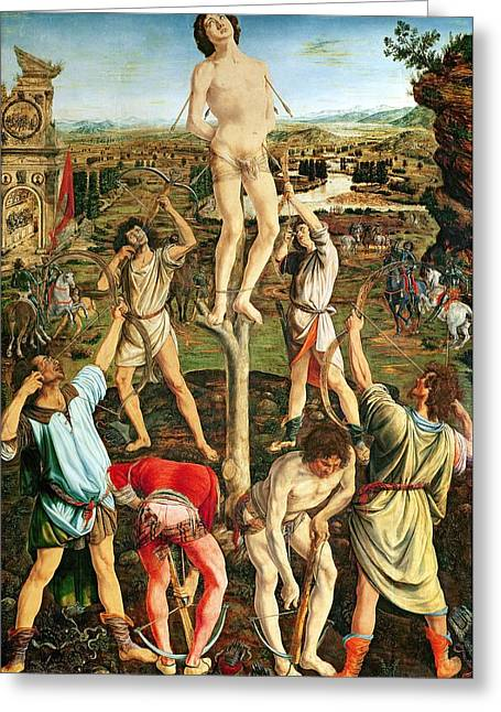 Martyrdom Of St. Sebastian, 1475 Oil On Poplar Greeting Card by Antonio Pollaiuolo