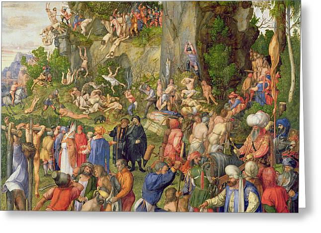 Martyrdom Of The Ten Thousand, 1508 Greeting Card by Albrecht Durer or Duerer
