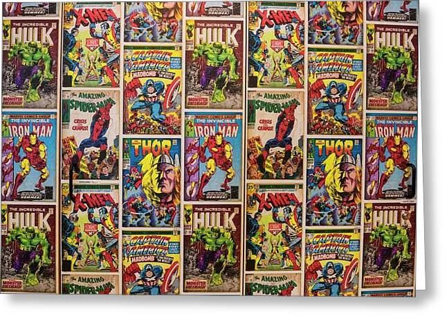Marvel Comics Heroes Greeting Card by Ken Welsh