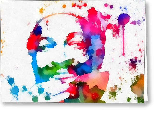 Marvin Gaye Paint Splatter Greeting Card by Dan Sproul