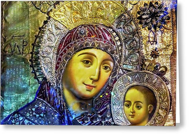 Mary And Jesus Icon, Greek Orthodox Greeting Card by William Perry