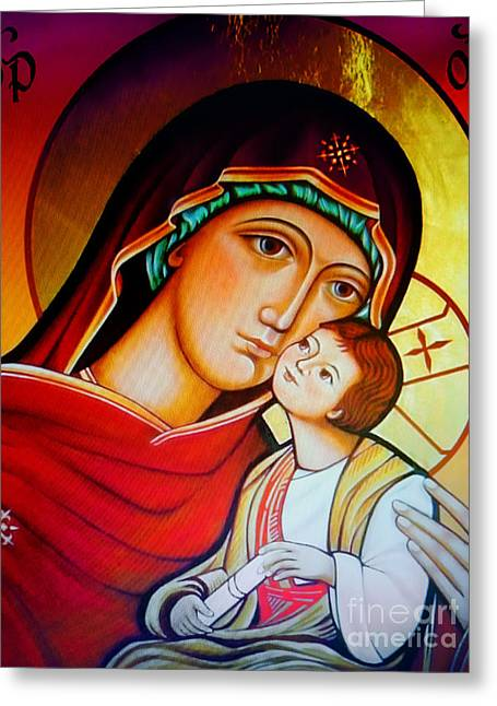 Mary And Jesus Icon Greeting Card by Ryszard Sleczka