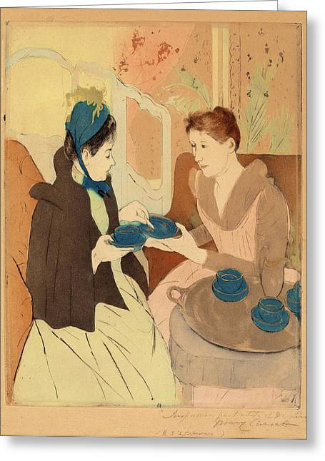 Mary Cassatt, Afternoon Tea Party, American Greeting Card by Quint Lox