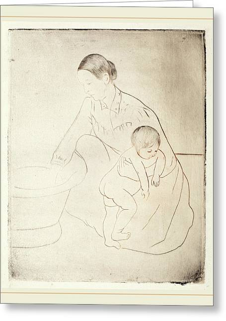 Mary Cassatt, The Bath, American, 1844-1926 Greeting Card by Litz Collection