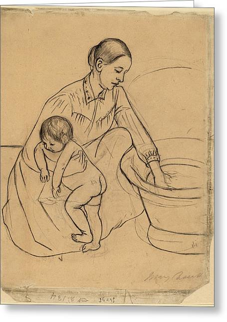 Mary Cassatt, The Bath Recto, American Greeting Card by Quint Lox