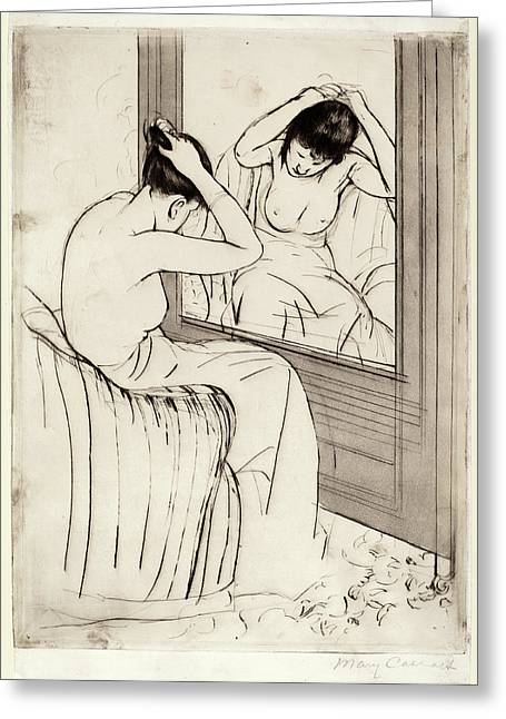 Mary Cassatt, The Coiffure, American, 1844 - 1926 Greeting Card by Quint Lox