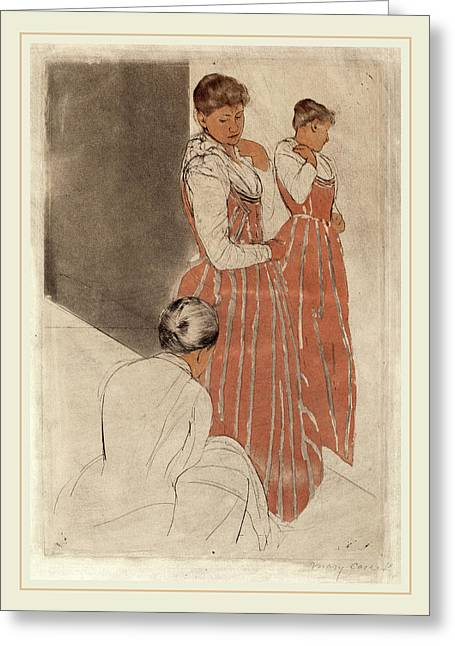 Mary Cassatt, The Fitting, American, 1844-1926 Greeting Card by Litz Collection