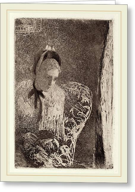 Mary Cassatt, Waiting, American, 1844-1926 Greeting Card by Litz Collection