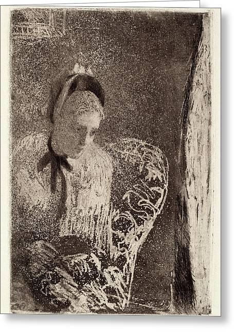 Mary Cassatt, Waiting, American, 1844 - 1926 Greeting Card by Quint Lox