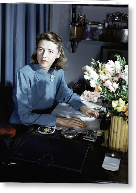 Mary Cushing At Her Desk Greeting Card by Horst P. Horst