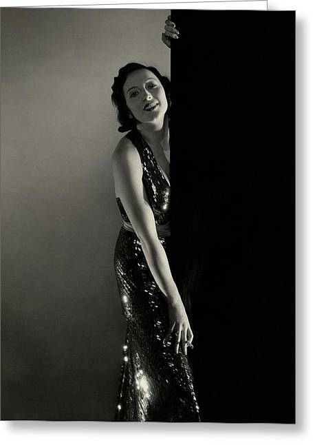 Mary Duncan Wearing A Sequin Dress Greeting Card by Edward Steichen